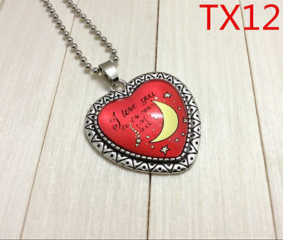 """DIY """"I LOVE YOU TO THE MOON AND BACK"""" Photo Heart Alloy Necklaces & Pendants#594"""