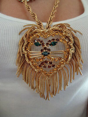 VTG LION BROOCH PIN NECKLACE JULIANA? RHINESTONE LIONS MANE COUTURE RUNWAY