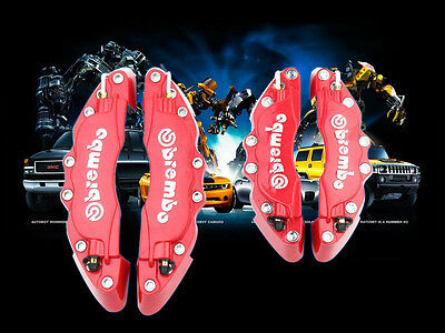 Red Brembo Style Universal Disc Brake Caliper Cover 4pcs Front and Rear Kit #H30