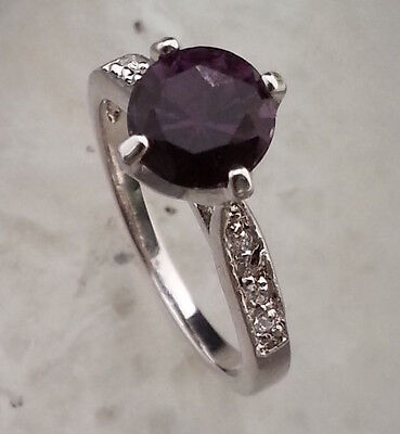 Natural Purple Amethyst GEMSTONE RING  STERLING 925SILVER SIZE 5.5