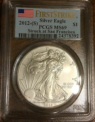 2012-(S) PCGS 1 oz American Silver Eagle First Strike MS-69 Flag Label