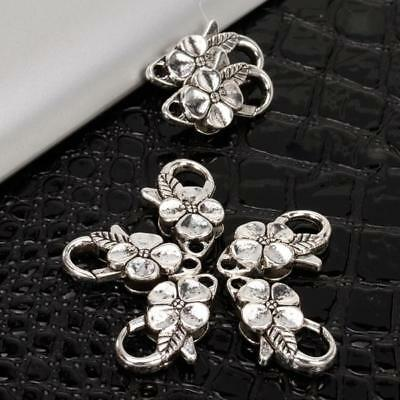 25mm 10pcs Silver Flower Leaf Lobster Clasp Charms Jewelry Making Findings