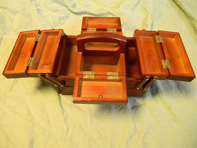 Small Singer Sewing Box Wood Expandable Accordion Notion Caddy Vtg Wooden Holder