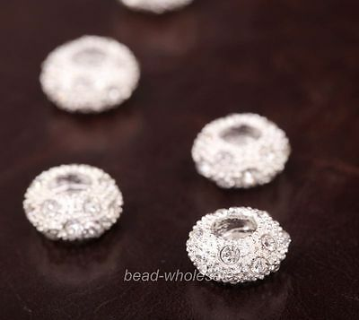 10Pcs New Fashion Clear Rhinestone Crystal Silver Plated Big Hole Beads Spacer
