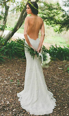 Straps Sexy Backless Lace Wedding Dress Bridal Gown Custom Size6 8 10 12 14