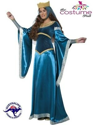 DELUXE Maid Marian Gown Game of Thrones Blue Medieval Marion Costume 10-12
