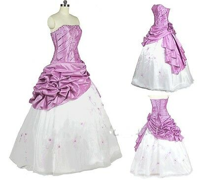 White/Lilac Embroidery Ball Gown Prom Pageant Evening Quinceanera Dresses Satin