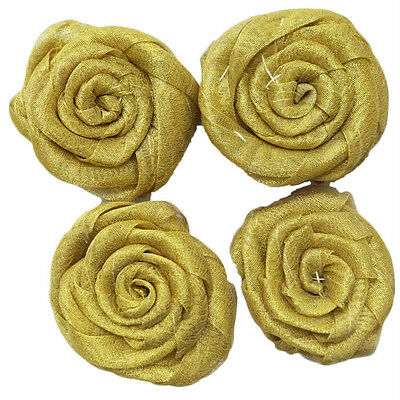 Indian Ribbon Applique Golden Handmade Floral Pattern Sewing Fabric Patch 4 Pcs