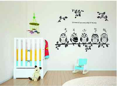 New Cute Owl Birds Branch Removable Vinyl Kids Decor Mural Wall Stickers Decal