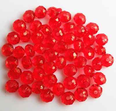 200Pcs 6mm Red Rondelle Acrylic Spacer Loose Beads Bracelet Necklace Findings