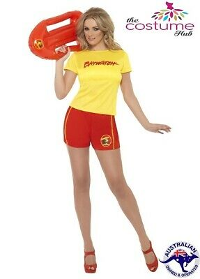 Womens Licensed Baywatch Lifeguard T-Shirt Shorts 80s Costume Size 8-18 AU