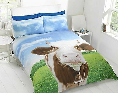 Daisy Cow Animal Photo Print Novelty Bedding Duvet Cover Single Double King Size