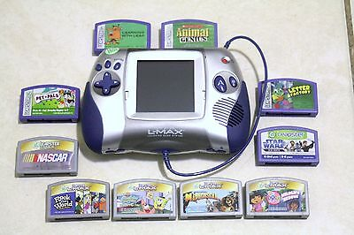 Leap Frog Leapster L-Max Educational Learning Game System Blue with 10 Games