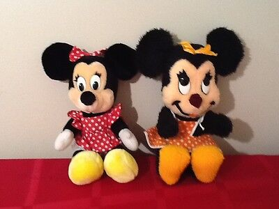 2-WALT DISNEY WORLD - DISNEYLAND VINTAGE MINNIE MOUSE PLUSH STUFFED DOLL TOYS