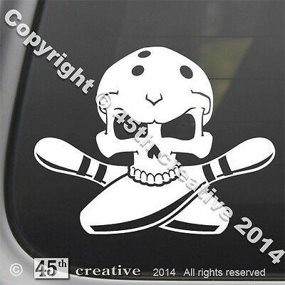 Bowler Crossbones Decal - skull competition bowling ball pins lane shoes sticker