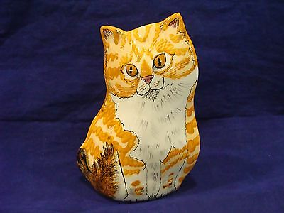 """Cats by Nina""  Vase Yellow / White Tabby Kitten Hand Made  Signed"