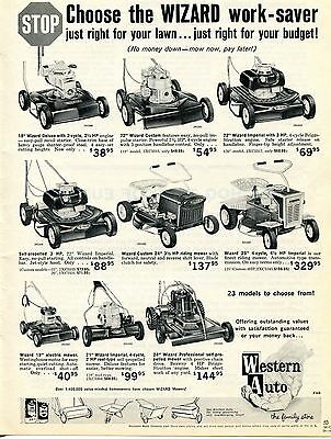 1963 Western Auto Wizard Deluxe & Imperial Lawnmower Print Ad