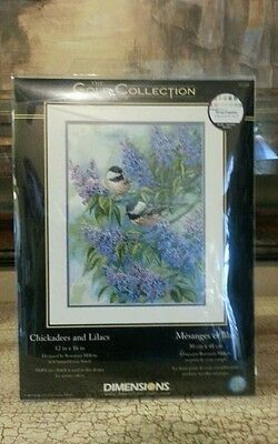 Dimensions Gold Collection counted cross stitch kit  Chickadees and Lilacs