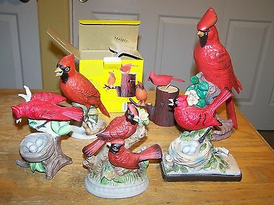 Lot of 6 cardinal figurines. mixed makers pair of singing & motion birds