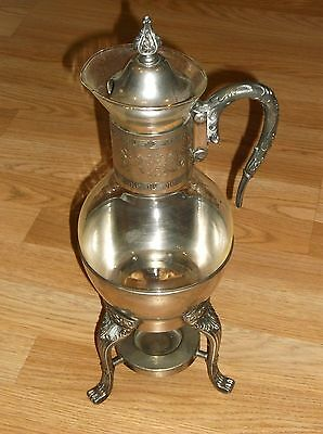 LOVELY 3pc VINTAGE SILVERPLATE CORNING GLASS COFFEE CARAFE ON WARMER STAND