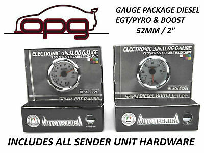 Performance Diesel Pyro Egt & Boost 52Mm Analog Gauge Combo White Face 7 Colour