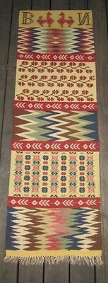 OLD SWEDISH HAND WOVEN  WALL HANGING -ANTIQUE-BEAUTIFUL