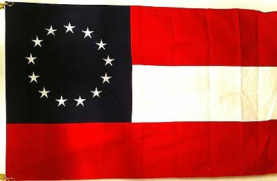 """First National Confederate 13 """"STARS AND BARS"""" 3x5 Cotton FLAG"""