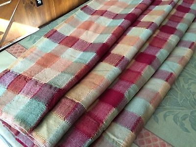 2 PAIR LINED PLAID KITCHEN TIER CURTAINS, 4 VALANCES GREEN ORANGE GOLD RED