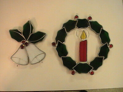 Stained Glass Christmas Holly, Candle and Bell Wreath