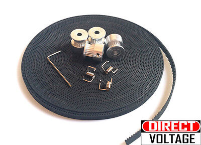 10 meters 3D Printer GT2 Timing Belt, 2mm Pitch, 6mm Width. Pulley 4 x 5mm bore,