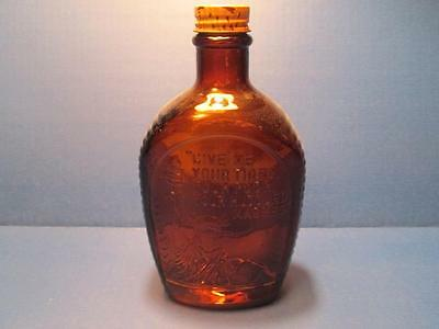 Vintage Amber Glass Log Cabin Syrup Bottle - Statue of Liberty Embossed On Glass