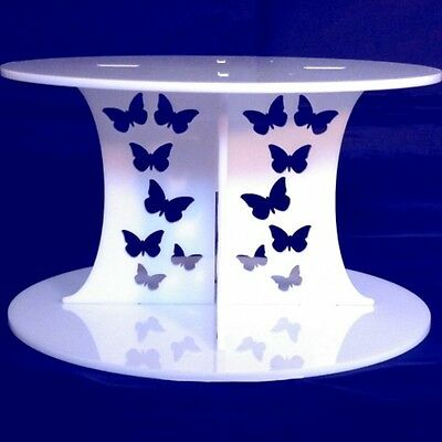Butterfly Design Round Single Tier Cake Stand - White