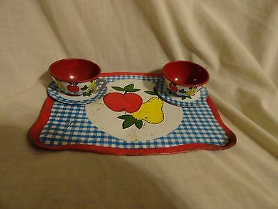 THE OHIO ART COMPANY TRAY 2 SAUCERS, 2 CUPS..APPLE/PEAR MOTIF