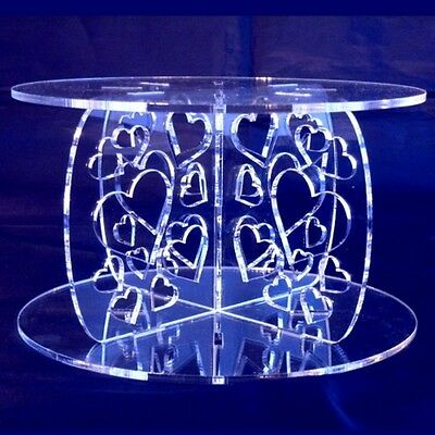 Heart Design Round Single Tier Cake Stand - Clear
