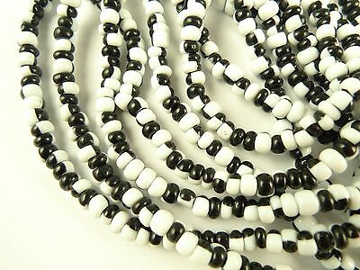 """26"""" two color black white Czech glass seed trade beads tribal African scarce"""