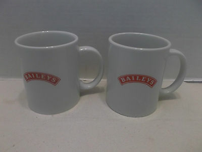 Baileys Coffee Mugs Set Of Two White With Red Logo On Side!