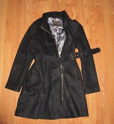 WOMEN'S GUESS BLACK WOOL BLEND ZIP UP BELTED COAT XL EXCELLENT CONDITION