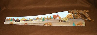 """ARTIST SIGNED LIL HAND PAINTED HAND SAW 29"""" COUNTRY FARM SCENE"""