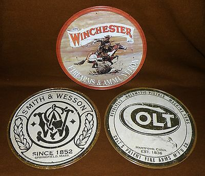 """Lot of 3 Metal Gun Signs Colt & Smith & Wesson Winchester  USA 11-5/8"""" Round"""