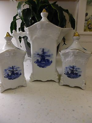 Hand Painted Holland Ter Steege BV Delft Bauw Tea Coffee set gold5