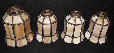 Set Of 4 Matching Slag Glass Shades 1 Large & 3 Smaller Ones Of The Same Size