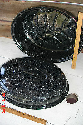 Vintage Graniteware Enamel Ware Roaster Black & White Speckled Cookware Oval