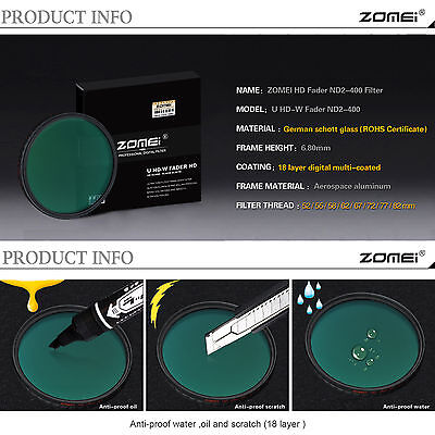 Zomei 52mm Ultra Slim Multi-Coated 18 layers HD ND2-400 Fader Variable ND Filter
