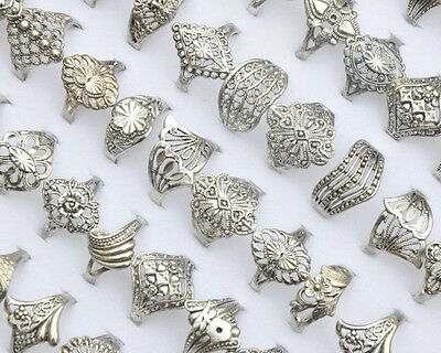 20pcs New Wholesale Jewelry Lots Mixed Silver Tone Rings Vintage Style Free Ship