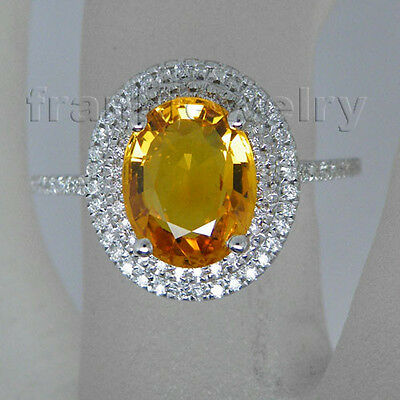 Oval 7x9mm 14Kt White Gold Natural Diamond Yellow Sapphire Vintage Ring R0014