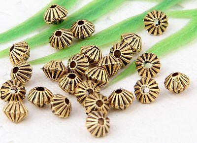 200Pcs Gold Tibetan Silver (Lead-Free)Spacer Beads Findings 5x4mm