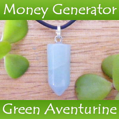 GREEN AVENTURINE Crystal Healing Point LUCK ~ SUCCESS Gemstone Pendant Necklace