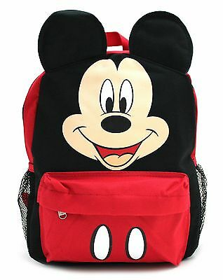 """Disney Mickey Mouse 12"""" Face Backpack 3D Ears Small Boys Girls Toddler Book Bag"""