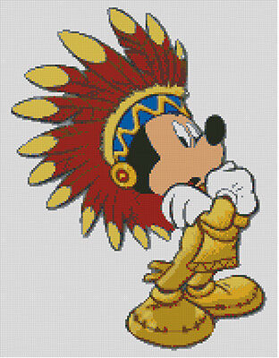 Cross stitch chart, pattern. Mickey, Mouse, Native, American, Red, Indian, Chief