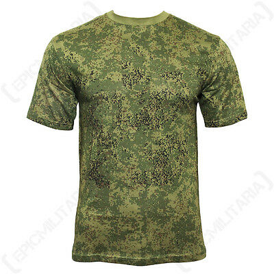 Digital RUSSIAN WOODLAND Camo Army T-Shirt - All Sizes - Camouflage Pattern Top